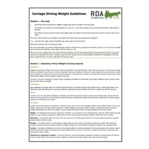 Carriage Driving Weight Guidelines